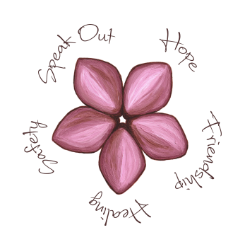 The 5 Petals: Hope, Healing, Friendship, Speaking Out, & Safety! If you're a survivor, or an abuse activist or support agency, please join us on Twitter at #5petals